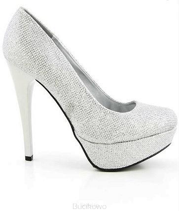 a4373eed Czółenka na obcasie Q Sin01 srebrne - Bucikowo - Mode obuwie damskie